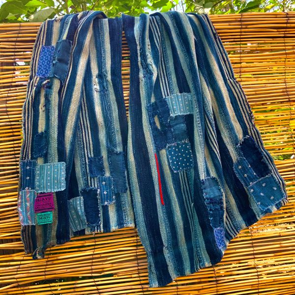 100 YEAR OLD INDIGO PATCHES FROM ALL OVER THE WORLD, SHASHIKO BORO PATCHED SCARF STOLE SHAWL