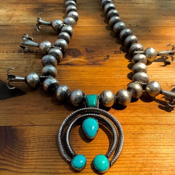 1900s & 1910s Barber Quarter & Liberty Dime Coin Silver Ingot Navajo Pearl Bench Bead Naja Chiseled Filed Turquoise Necklace