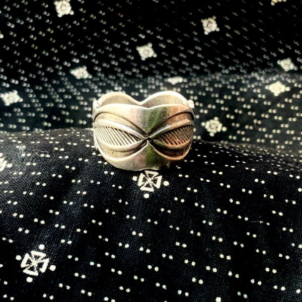1950s POSSIBLE FRED THOMPSON WIDE STAMPED SILVER RING BAND