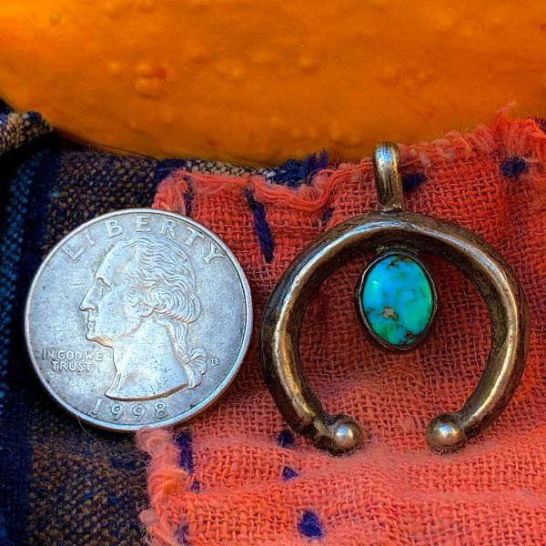 1920s SAND CAST SILVER NAJA WITH OVAL BLUE TURQUOISE STONE