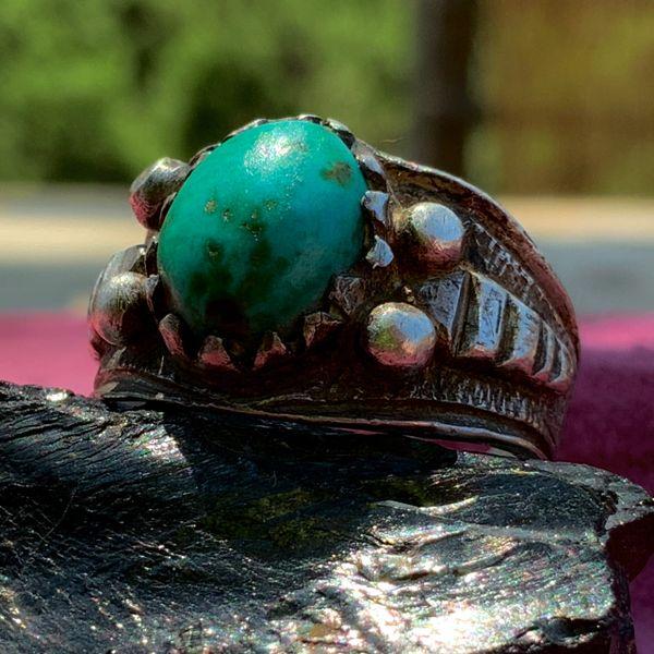 1890s INGOT SILVER RATTLESNAKE BLUE GREEN TURQUOISE RING
