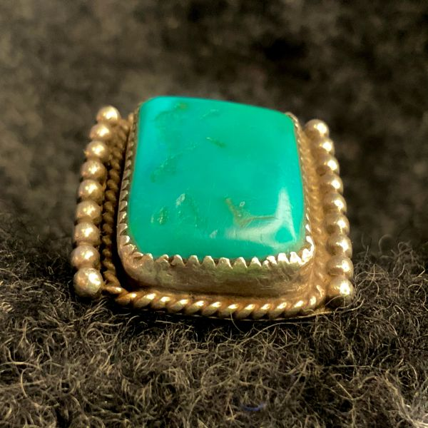 1930s BIG RECTANGLE CARIBBEAN BLUE GREEN WELL WORN NAVAJO INGOT SILVER RING FROM THE HAND OF JASON POLLAK AFTER LYNN TRUSDELL