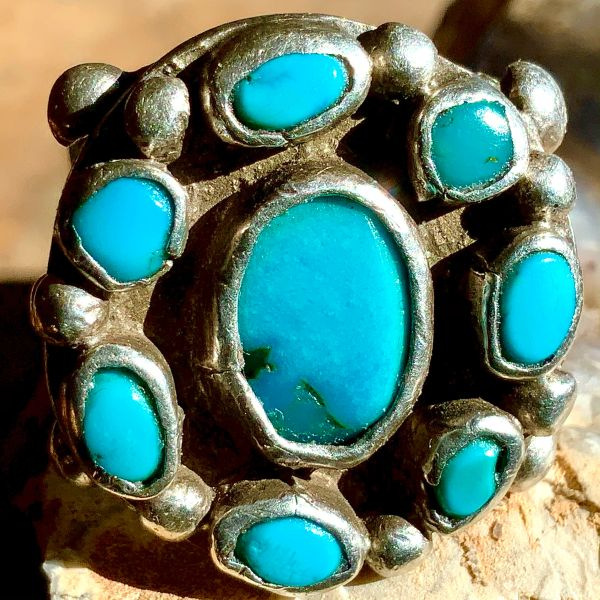 1890s EARLIEST KNOWN AVAILABLE ZUNI RING HARD GREASY NEON BLUE TURQUOISE STOMES PESO MOUNTED INGOT SILVER