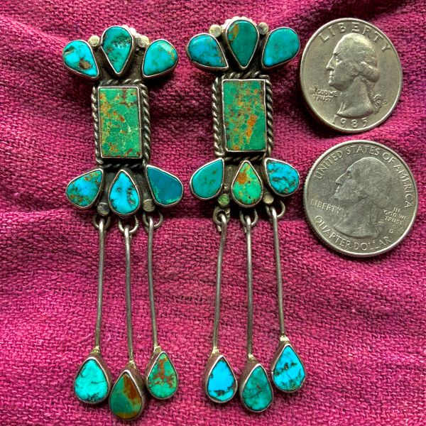 1920s - 1930s TURQUOISE AND SILVER CHANDELIER GREEN AND BLUE EARLIEST ZUNI EARRINGS