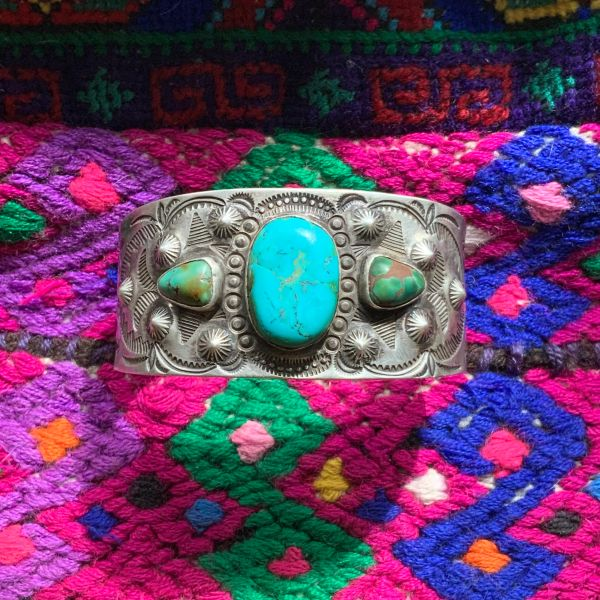 SOLD 1920s WHIRLING LOG & PEYOTE BUTTON REPOUSSE WIDE SILVER & BLUE GREEN TURQUOISE CUFF BRACELET