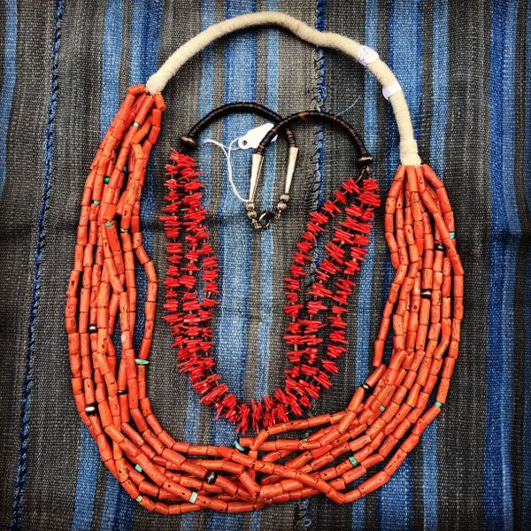 SOLD 1940s PUMP DRILLED CORAL NECKLACE