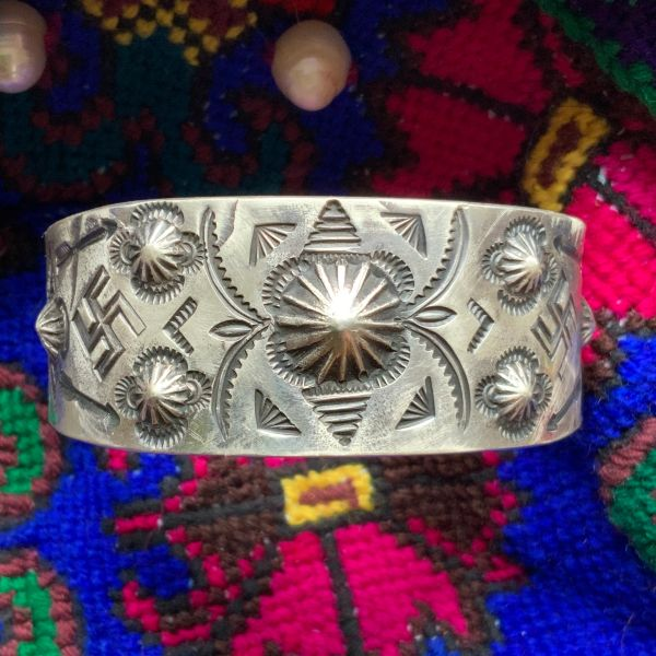 SOLD 1920s SILVER PEYOTE BUTTONS REPOUSSE WHIRLING LOGS FRED HARVEY ERA WIDE SILVER CUFF BRACELET