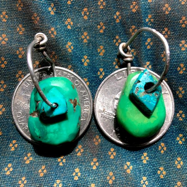 1920s GREEN A& BLUE TAB EAR BOB EARRINGS SET ON SILVER WIRE