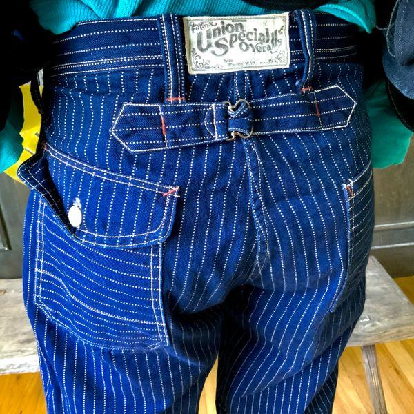 FREEWHEELERS JAPAN INDIGO WABASH STIFEL STRIPE BUCKLE BACK CARPENTER JEANS