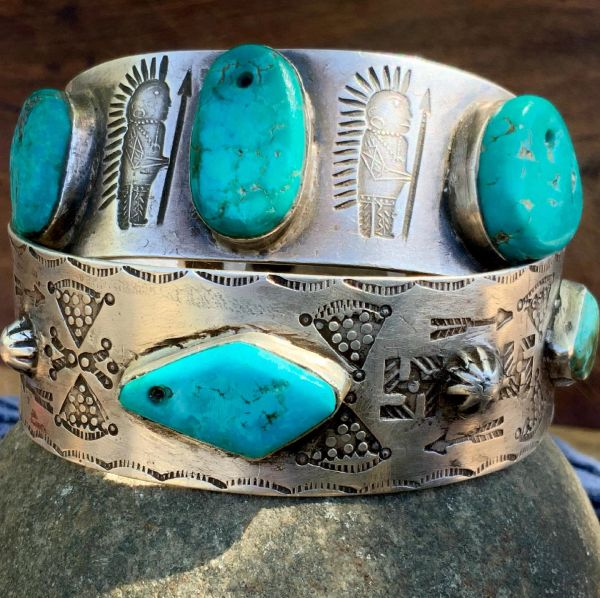 1900s EVIL EYE, BUTTERFLY, WHIRLING LOG, ARROW, PEYOTE BUTTON REPOUSSE', INGOT SILVER BLUE & GREEN TURQUOISE LARGE BANGLE BRACELET