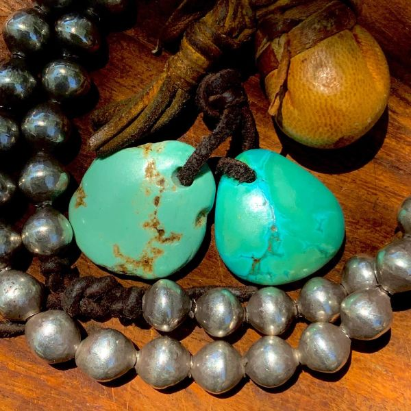 1930s LARGE HEAVY PALE BLUE GREEN TURQUOISE DRILLED TABS FOR EAR BOBS EARRINGS