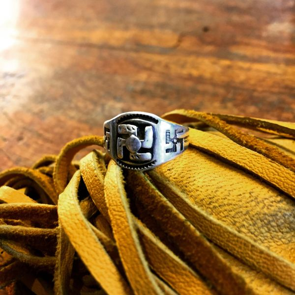 1920s SOLD WHIRLING LOGS SWASTIKA SILVER PINKY RING