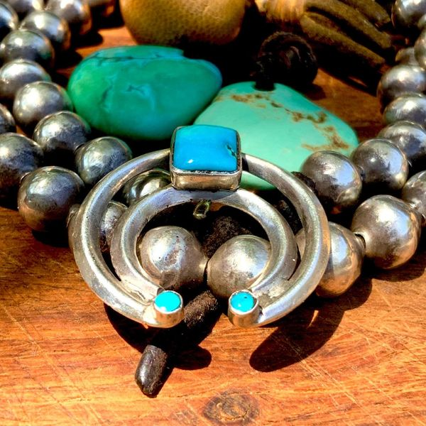 1940s NAJA BLUE TURQUOISE AND INGOT SILVER NAJA PENDANT FOR A SQUASH BLOSSOM NECKLACE