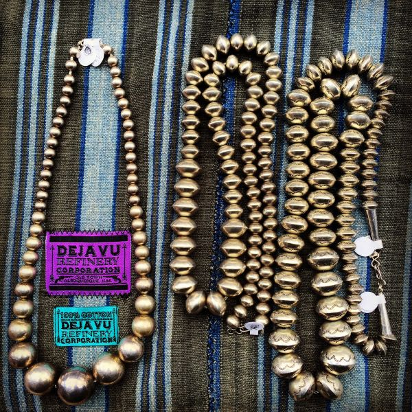 SOLD 1960s HEAVY SMOOTH AMERICAN BENCH BEADS NAVAJO PEARLS