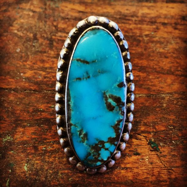 SOLD 1930s HUGE SKY BLUE TURQUOISE SILVER RING