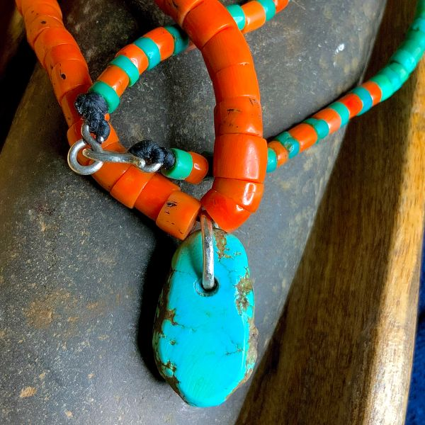 """1930s """"GREASY"""" GREEN & BLUE TURQUOISE HEISHI BEADS WITH NATURAL ANTIQUE CORAL BEADS & PALE BLUE ANTIQUE RAINDROP TURQUOISE TAB PENDANT ON HAND-WROUGHT PURE SILVER INGOT"""