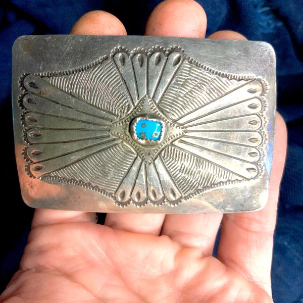 1920s STERLING SILVER STAMPED BELT BUCKLE FROM AN OLD CONCHO BELT WITH BLUE TURQUOISE
