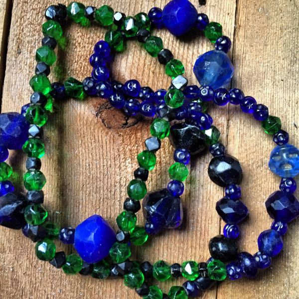 SOLD FACETED BRITISH 1880s EMERALD GREEN GLASS, BOHEMIA MADE EARLY FACETED COBALT VASELINE TRADE BEADS, STARS & MOONS STAMPED MOORISH COBALT TRADE BEADS
