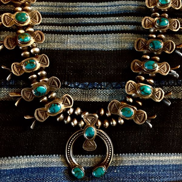 SOLD 1940's BISBEE LAVENDER PIT TURQUOISE BOX & BOW SILVER SQUASH BLOSSOM NECKLACE