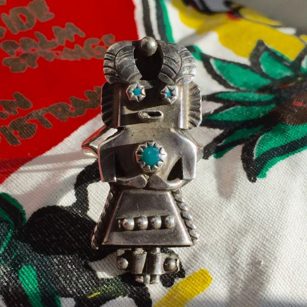 1950s SOLD SIGNED SMALL KACHINA SILVER & TURQUOISE RING