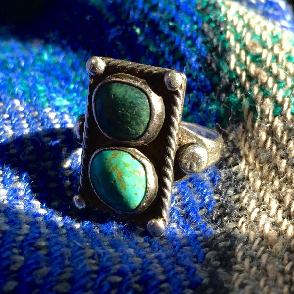 SOLD 1910s SMALL 2 STONE BLUE GREEN TURQUOISE RING
