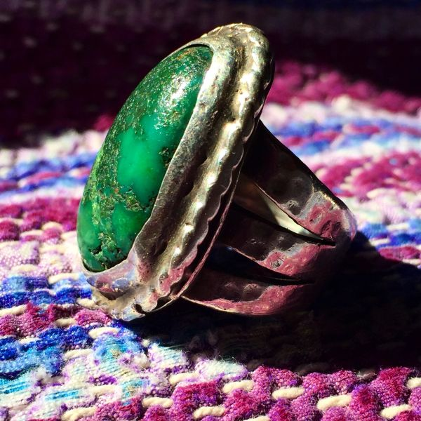 SOLD 1940s SILVER HAMMERED INGOT GIANT GREEN TURQUOISE NUGGET MENS RING