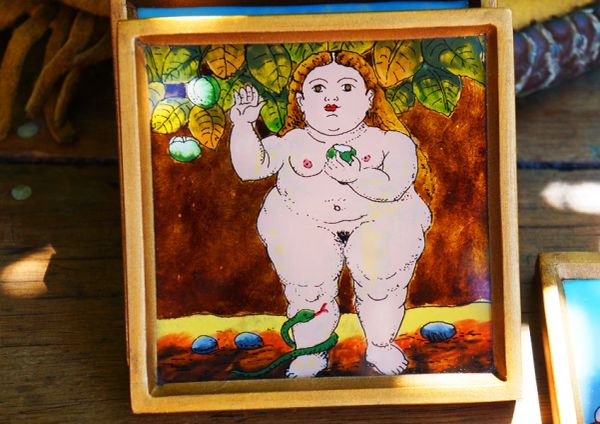 SOLD ZOFTIG BOTERO HANDPAINTED COASTERS SET