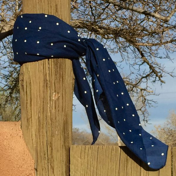 XL JUMBO BIG GIANT HUGE POLKA DOT JAPAN INDIGO BLUE BANDANNA