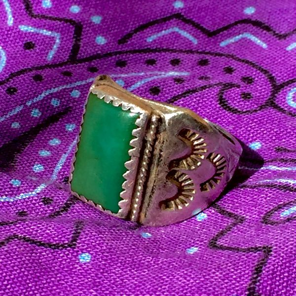 SOLD 1930s SIGNED STAMPED AMERICAN TURQUOISE SILVER MENS RING