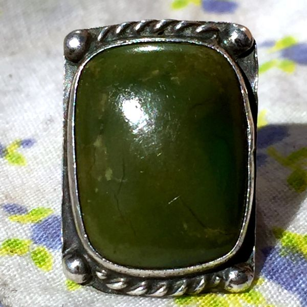 1940s STAMPED FRED HARVEY ERA OLIVE GREEN TURQUOISE SILVER RING