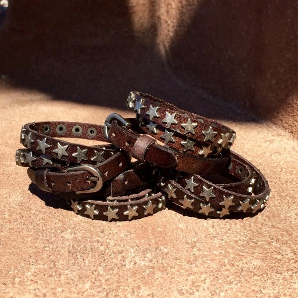 DARK BROWN TRIPLE WRAP SHINY STAR STUDDED LEATHER BELT or CUFF BRACELET