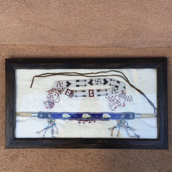 SOLD 1920s FRAMED SWASTIKA WHIRLING LOGS, ARROWS, FLOWERS & PINON TREES BEADED POW WOW HEADDRESS PAIR