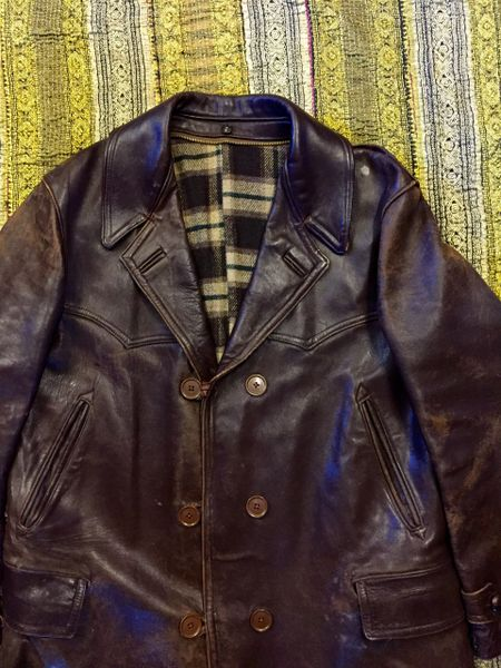 SOLD 1940's FRENCH SUPPLE LEATHER DISTRESSED DOUBLE BREASTED CAR COAT