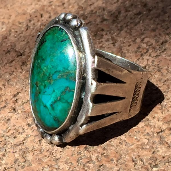 SOLD 1940's BIG CHRYSOCOLLA SILVER RING