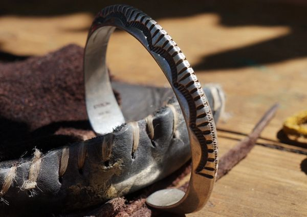 SOLD CARINATED HEAVY ANERICAN STAMPED INGOT SILVER CUFF