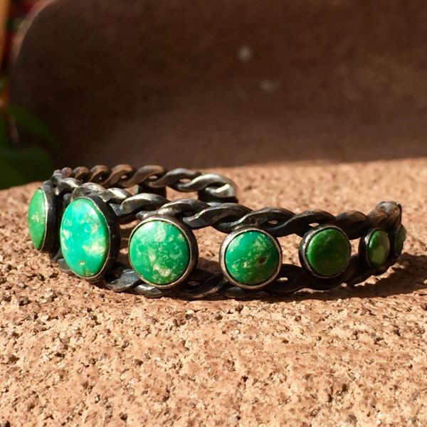 SOLD 1940s WROUGHT TWISTED INGOT GREEN TURQUOISE BRACELET