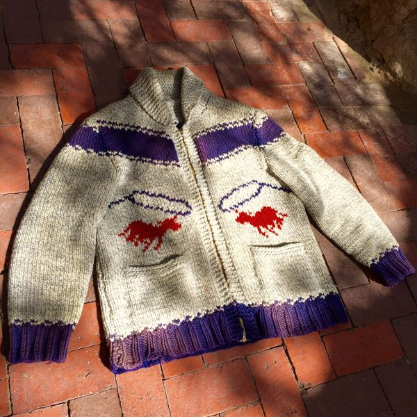 1940s SUN-FADED COWICHAN RODEO COWBOY WOOL CARDIGAN SWEATER
