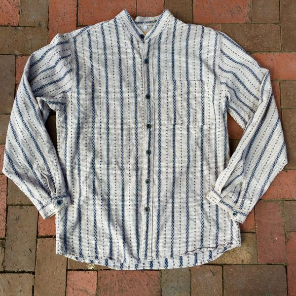 SOLD VINTAGE REPRODUCTION HOMESPUN INDIGO, CREAM, BROWN CALICO BANDED COLLAR SHIRT