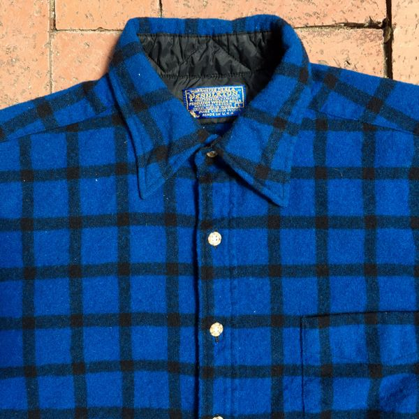 SOLD 1980s PENDLETON WOOL COBALT BLUE WINDOWPANE TARTAN PLAID HUNTING SHIRT