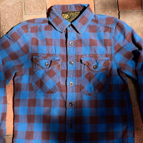 SOLD KOREAN VINTAGE REPRODUCTION BROWN & BLUE BUFFALO PLAID FLANNEL CAMP SHIRT