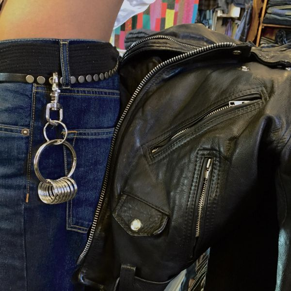 STUDDED BELT & KEYCHAIN RING