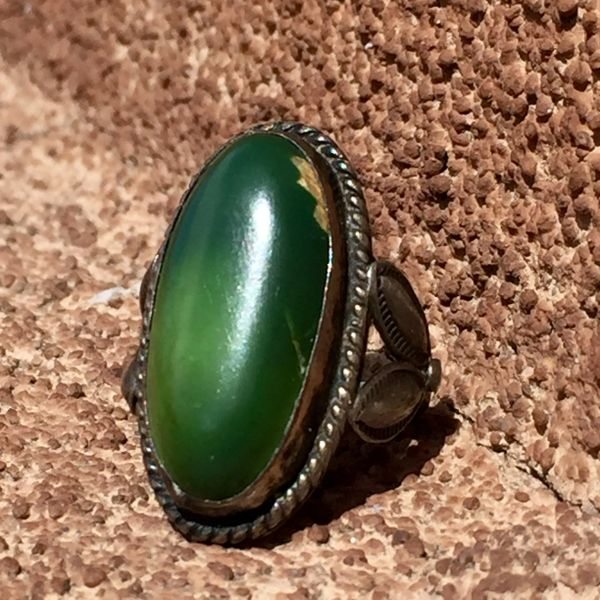 SOLD 1950s BIG GREEN TURQUOISE SILVER FRED HARVEY ERA RING
