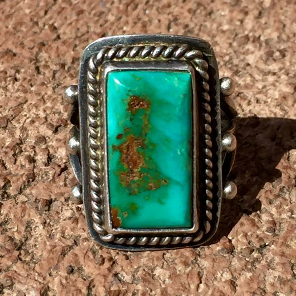 SOLD 1950s BLUE GEM TURQUOISE SILVER RING