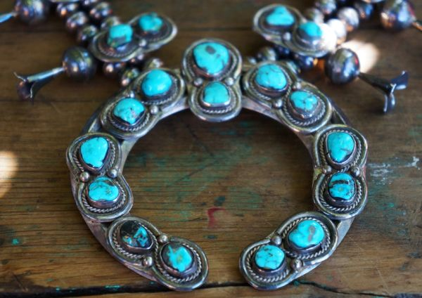 SOLD 1970's TURQUOISE & SILVER DOUBLE MOON SQUASH BLOSSOM NECKLACE