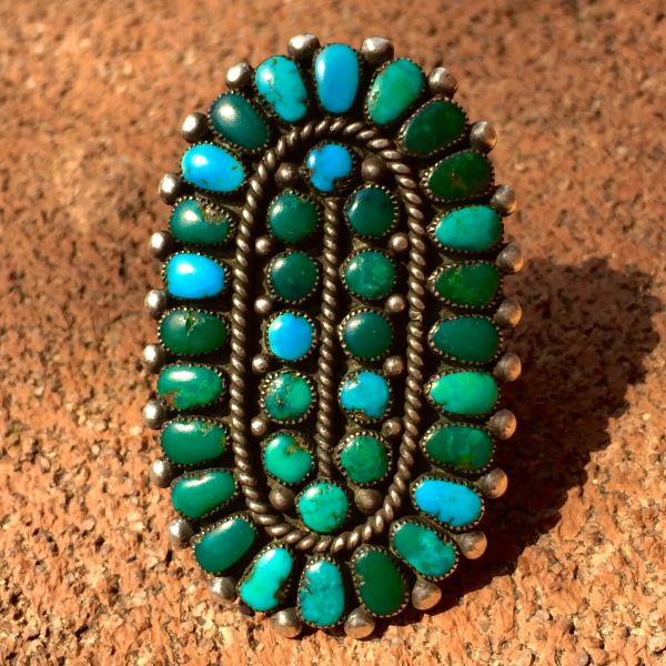 SOLD 1940s HUGE AMERICAN IDEAL PETITE POINT TURQUOISE & SILVER INGOT RING