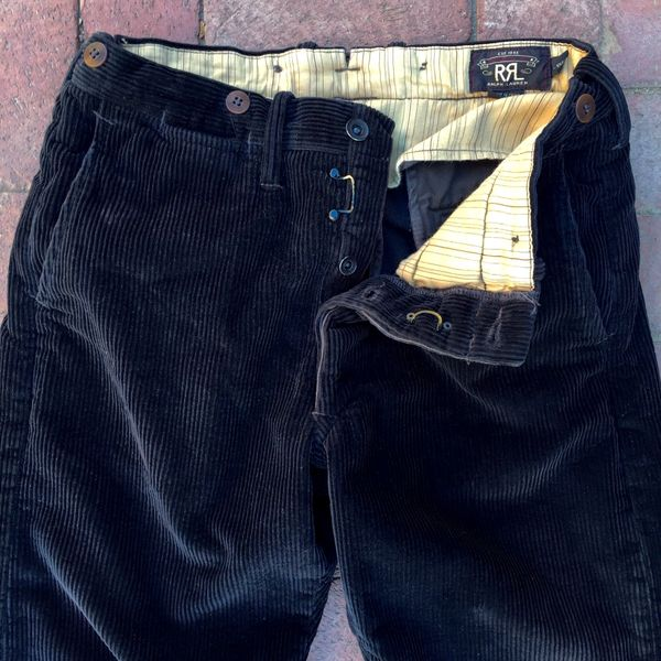 RRL RALPH LAUREN THICK BLACK CORDUROY PANTS