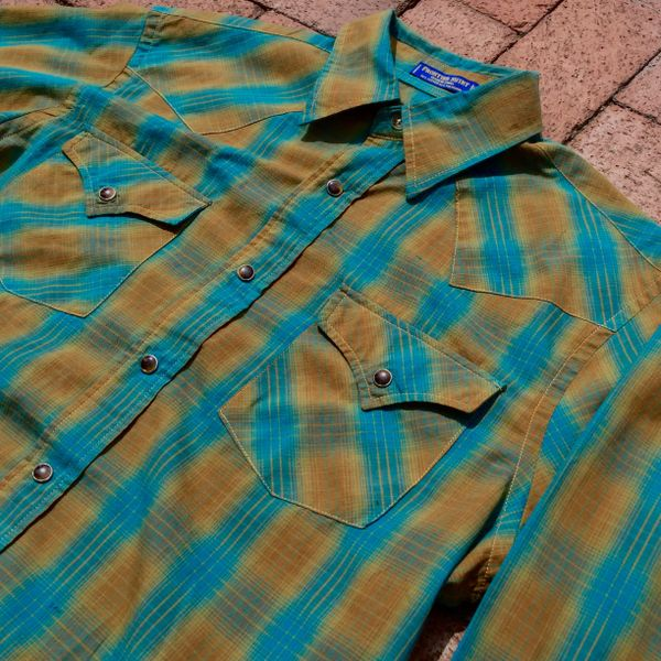 SOLD PENDLETON WESTERN SNAP SHADOWBOX BLUE & BROWN PLAID COTTON SPRING SHIRT