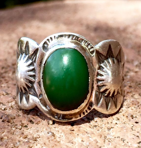 SOLD 1920s REPOUSSE' SILVER PEYOTE SUN & ARROW STAMPED KINGS MANASSA TURQUOISE FRED HARVEY ERA RING