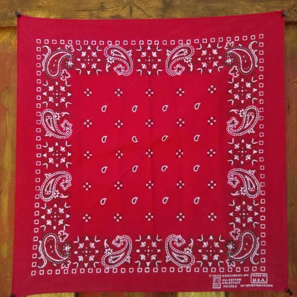 SOLD RED VINTAGE BANDANNA # 7