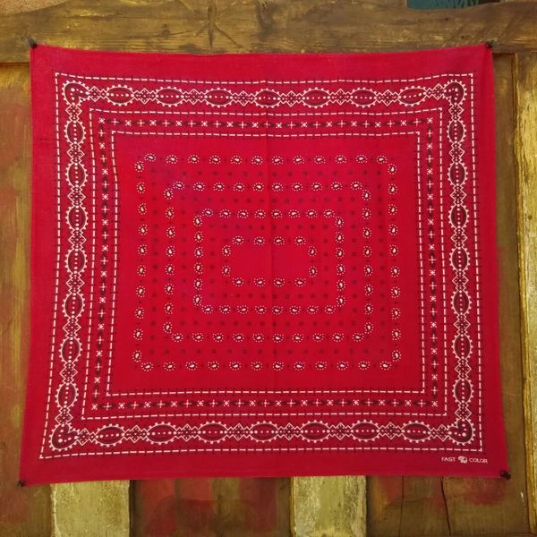 SOLD RED VINTAGE BANDANNA # 10